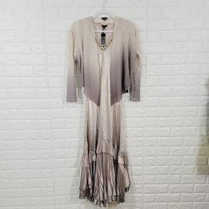 NWT Komarov Ombré Aline Dress & Jacket Oyster.Sz M